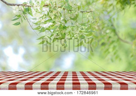 Red Picnic Table And Nature Background.