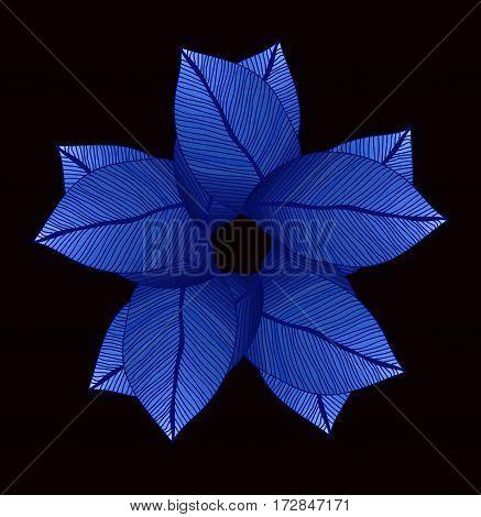Blue mandala leaves circle. Degrade color. Foliage