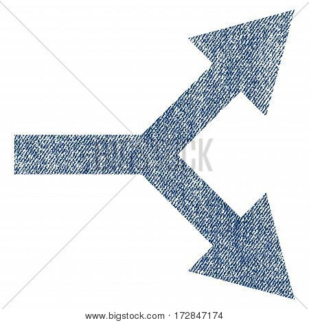 Bifurcation Arrow Right vector textured icon for overlay watermark stamps. Blue jeans fabric vectorized texture. Symbol with dirty design. Blue ink rubber seal stamp with fiber textile structure.
