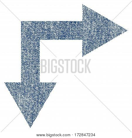 Bifurcation Arrow Right Down vector textured icon for overlay watermark stamps. Blue jeans fabric vectorized texture. Symbol with dust design. Blue ink rubber seal stamp with fiber textile structure.