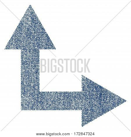 Bifurcation Arrow Right Up vector textured icon for overlay watermark stamps. Blue jeans fabric vectorized texture. Symbol with dust design. Blue ink rubber seal stamp with fiber textile structure.