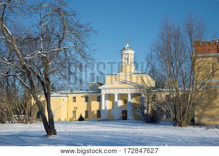 The old church of St. Mary Magdalene, sunny February day. St. Petersburg suburbs. Russia