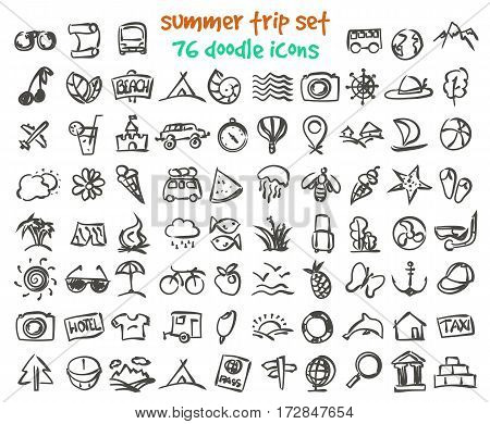 Vector doodle summer trip icons set. Stock cartoon signs for design.