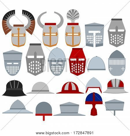 A set of medieval knights helmet. The illustration on a white background.