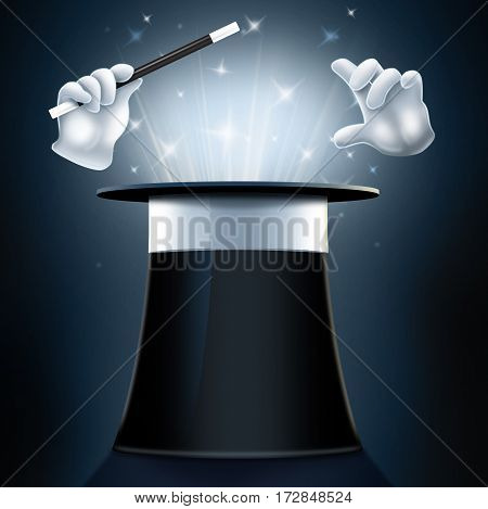 Upside down magicians top hat with white gloves holding wand