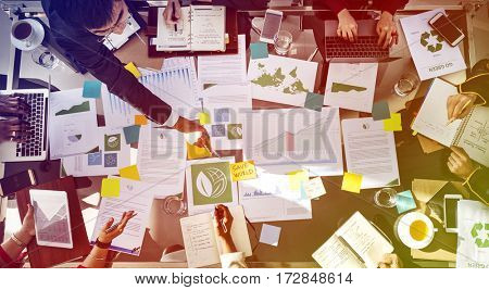 Corporate meeting busy analysis about business plan