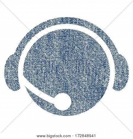 Call Center Operator vector textured icon for overlay watermark stamps. Blue jeans fabric vectorized texture. Symbol with dirty design. Blue ink rubber seal stamp with fiber textile structure.
