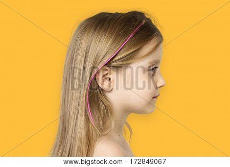 Little Girl Bare Chested Smiling Side