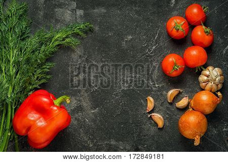 Frame From Vegetables At The Two Sides Of The Dark Black Cement Background With Copy Space For Your