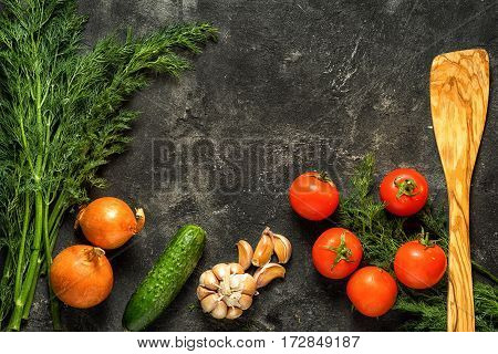 Food Background. Raw Vegetables On A Dark Black Stone Background, Top View. Copy Space For Your Text