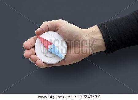 Human Hand Holding Compass Navigation Direction