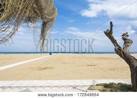 view of the beach in Rimini-Italy-during a sunny day with no one