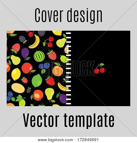 Cover design for print with fruits pattern on the black background. Vector illustration