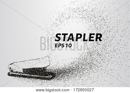 The Stapler Of The Particles. The Stapler Consists Of Circles And Points. Vector Illustration.