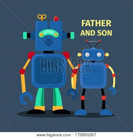 Robots father and son, vector illustration on dark background