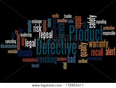Defective Product, Word Cloud Concept