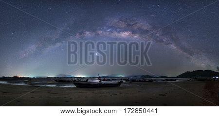 Landscape,Astrophotography and Nightscape photography, Milky way Panorama over the sea,Thailand