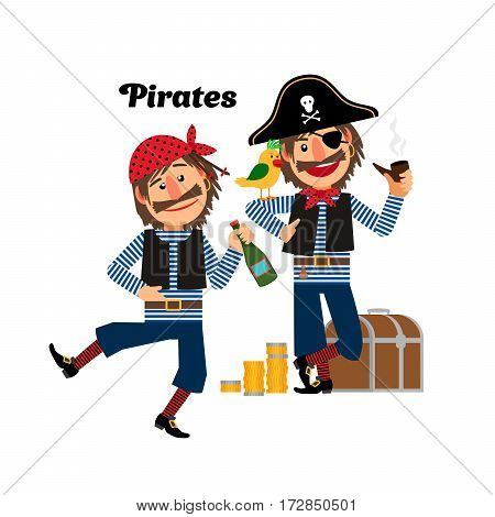 Two pirates with gold coins and chest, isolated vector