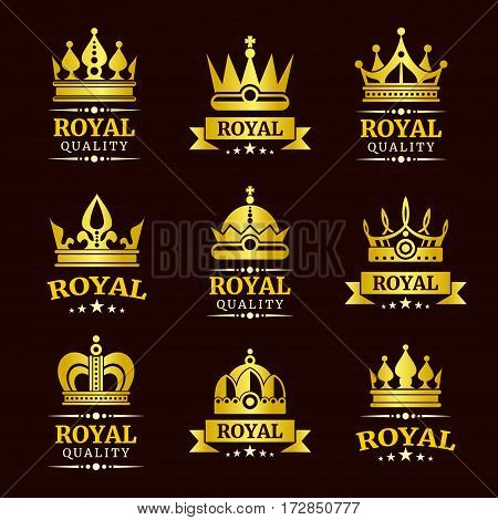 Golden royal quality vector crown logo templates set. Collection of luxury badge and emblem illustration