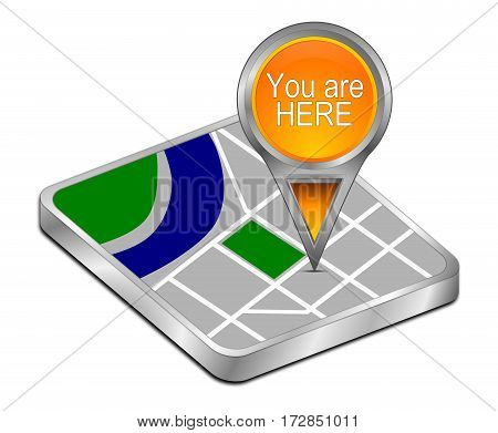 orange You are Here Map Pointer - 3D illustration