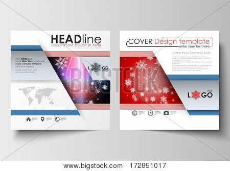 Business templates for square design brochure, magazine, flyer, booklet or annual report. Leaflet cover, abstract flat layout, easy editable blank. Christmas decoration, vector background with shiny snowflakes.
