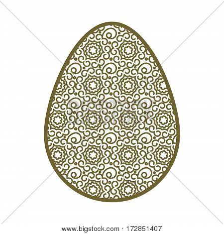 Easter egg with a geometric pattern. Template for laser cutting. It can be used to design greeting cards, envelopes, invitations, interior elements. Easter vector paper cutting.