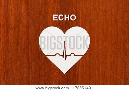 Heart shape with echocardiogram and ECHO text. Health or cardiology concept. Abstract conceptual image