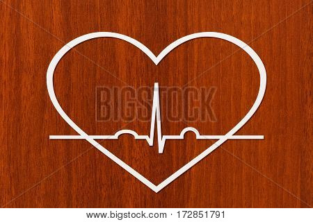 Heart shape with echocardiogram. Health or cardiology concept. Abstract conceptual image