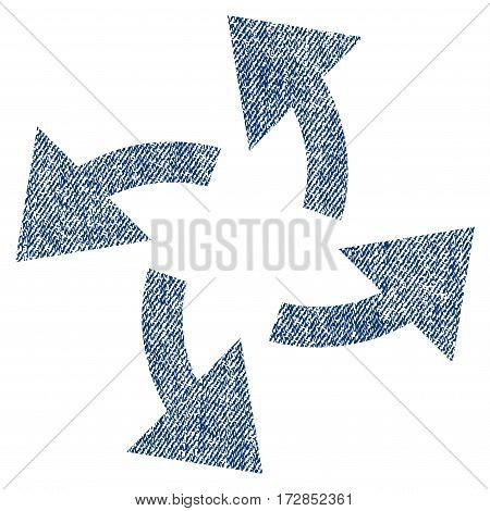 Centrifugal Arrows vector textured icon for overlay watermark stamps. Blue jeans fabric vectorized texture. Symbol with unclean design. Blue ink rubber seal stamp with fiber textile structure.