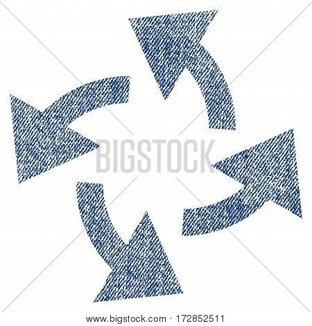 Centrifugal Arrows vector textured icon for overlay watermark stamps. Blue jeans fabric vectorized texture. Symbol with dust design. Blue ink rubber seal stamp with fiber textile structure.