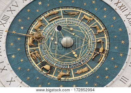 PADUA  ITALY - MAY 3 2016: Clock tower building of medieval origins overlooking Piazza dei Signori in Padova Italy