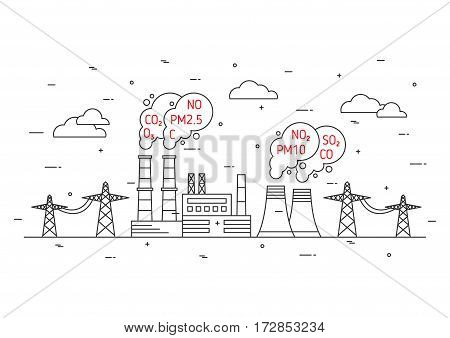 Air pollution vector illustration. Electric power station and toxic smog smoke fog concept. Coal electricity industry and smoke from chimney pipes with hazardous elements graphic design.