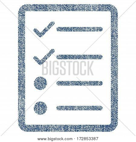 Checklist Page vector textured icon for overlay watermark stamps. Blue jeans fabric vectorized texture. Symbol with unclean design. Blue ink rubber seal stamp with fiber textile structure.
