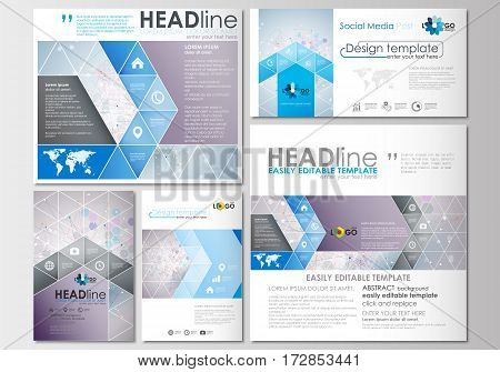 Social media posts set. Business templates. Cover design template, easy editable, abstract flat layouts in popular formats. Molecule structure on blue background. Science healthcare background, medical vector.