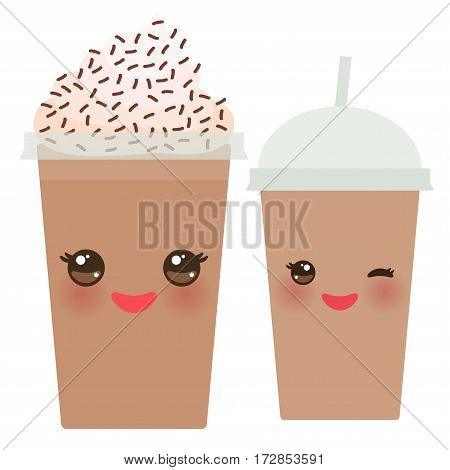 Chocolate Coffee Take-out smoothie transparent plastic cup with straw and whipped cream. Kawaii cute face with eyes and smile Isolated on white background. Vector illustration