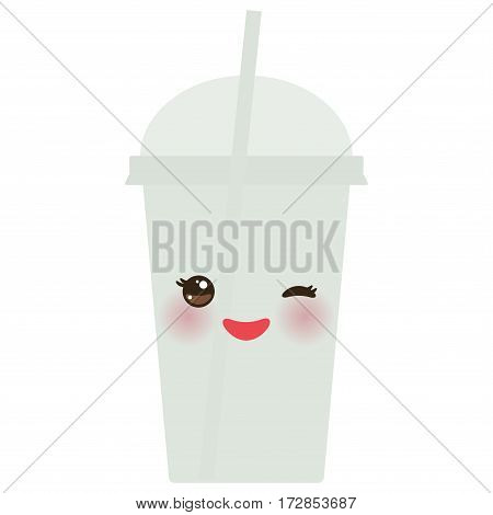Take-out smoothie transparent plastic cup with straw and whipped cream. Kawaii cute face with eyes and smile Isolated on white background. Vector illustration