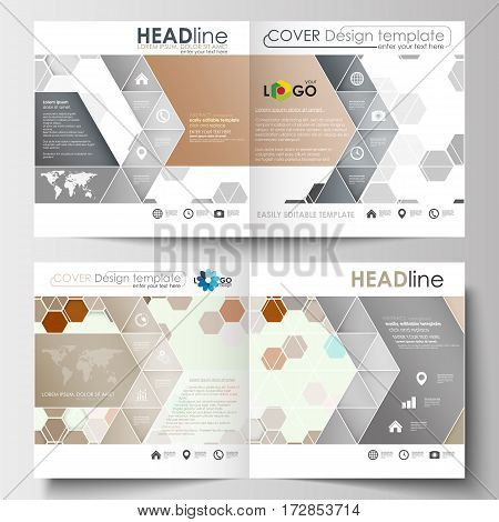 Business templates for square design brochure, magazine, flyer, booklet or annual report. Leaflet cover, abstract flat layout, easy editable blank. Abstract gray color business background, modern stylish hexagonal vector texture.