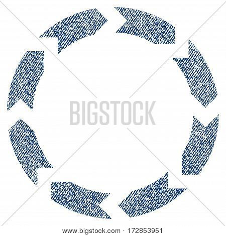 Circulation vector textured icon for overlay watermark stamps. Blue jeans fabric vectorized texture. Symbol with scratched design. Blue ink rubber seal stamp with fiber textile structure.