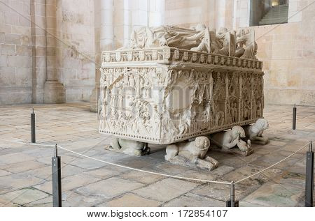 The tomb of Ines de Castro in the Alcobaca Monastery a Mediaeval Roman Catholic monastery located in the town of Alcobaca Portugal