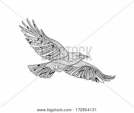 Hand-drawn crow with ethnic pattern. Coloring page - zendala, design for spiritual relaxation for adults, vector illustration, isolated on a white background. Zen doodles.