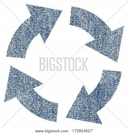 Circulation vector textured icon for overlay watermark stamps. Blue jeans fabric vectorized texture. Symbol with unclean design. Blue ink rubber seal stamp with fiber textile structure.