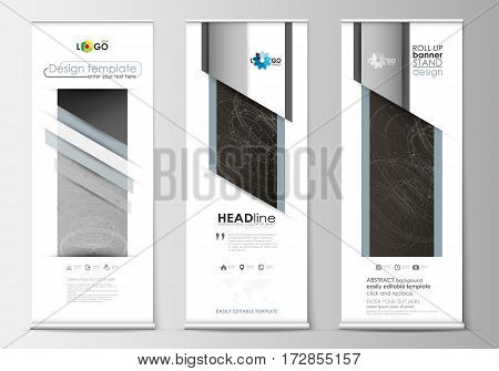 Set of roll up banner stands, flat design templates, abstract geometric style, modern business concept, corporate vertical vector flyers, flag banner layouts. Abstract 3D construction and polygonal molecules on gray background, scientific technology vecto