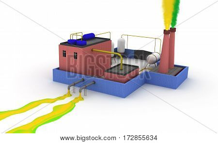 Chemical plant polluting the environment. 3D render.