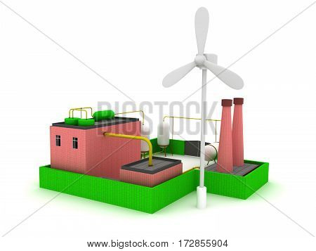 Factory energy efficiency with windmill. 3d render.