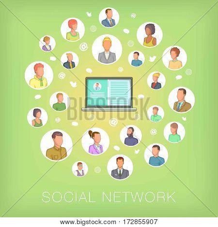 Social network concept notebook set. Cartoon illustration of social network vector concept for web