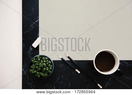 Flatlay Pencil Paper Eraser Plant Coffee