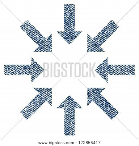 Collapse Arrows vector textured icon for overlay watermark stamps. Blue jeans fabric vectorized texture. Symbol with dirty design. Blue ink rubber seal stamp with fiber textile structure.