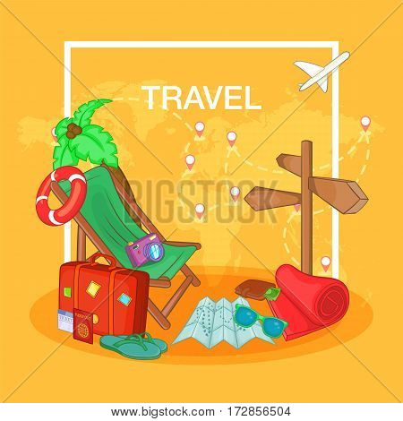 Travel concept route. Cartoon illustration of travel concept vector concept for web