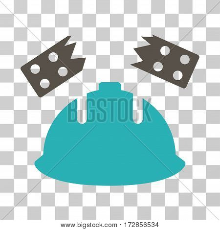 Brick Helmet Accident vector icon. Illustration style is flat iconic bicolor grey and cyan symbol on a transparent background.