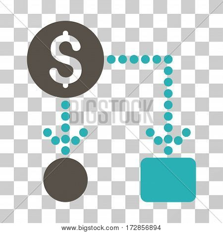 Cashflow vector pictogram. Illustration style is flat iconic bicolor grey and cyan symbol on a transparent background.